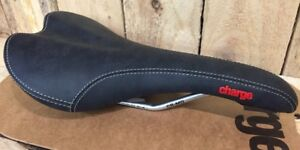 NEW-Charge-spoon-saddle-black-Red-Logo-Seat-UK-seller-independent-bike-shop