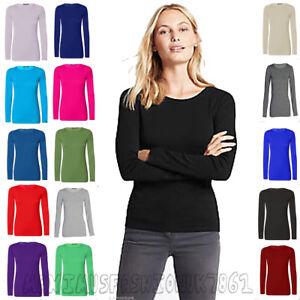 Womens-New-Ladies-Plain-Tshirt-Long-Sleeve-Scoop-Neck-T-Shirt-Top-Plus-Sizes8-26