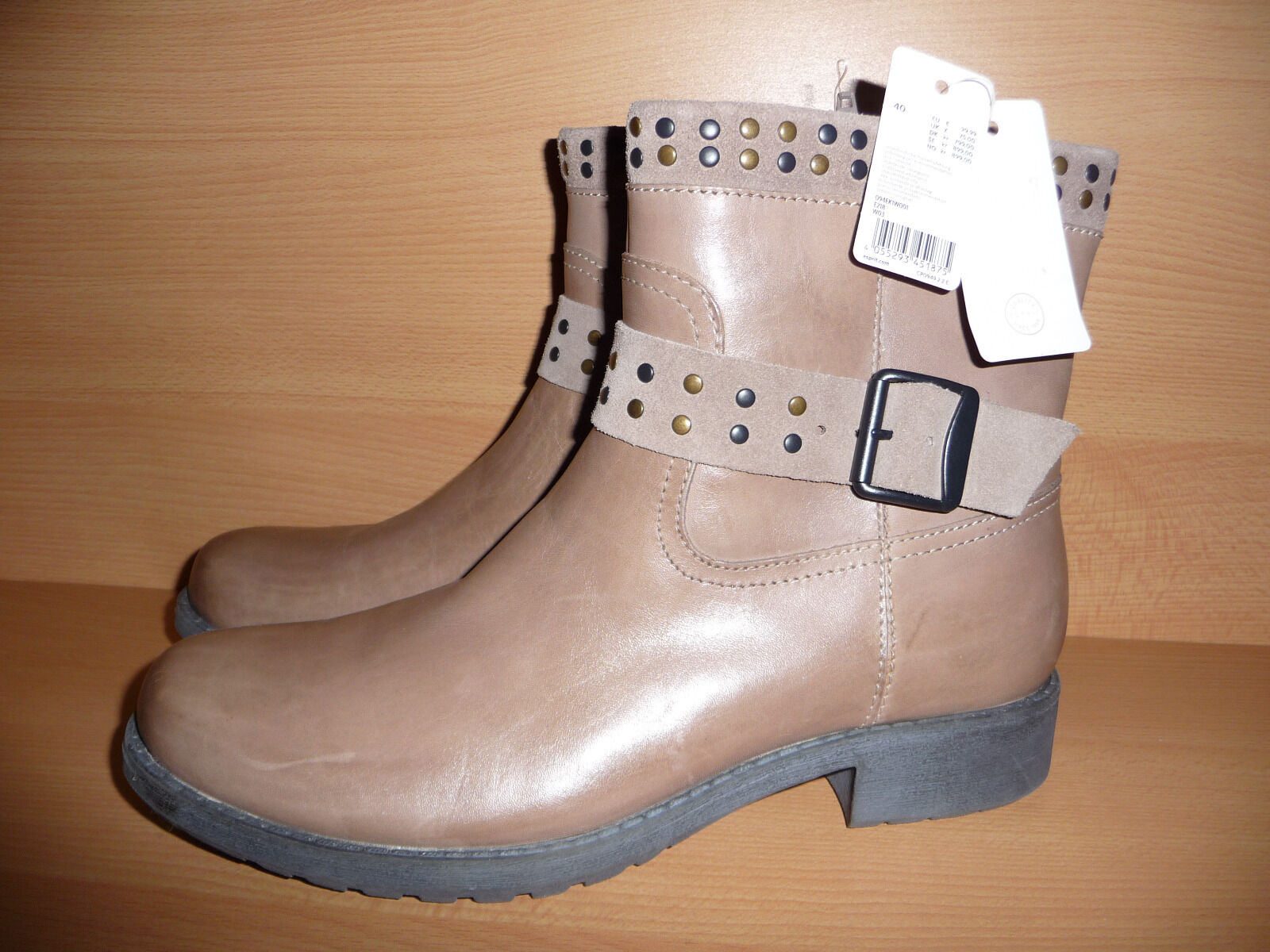 ESPRIT Stiefel Damen Stiefel ESPRIT Stiefel Stiefelette Schuhe, Leder, Beige, Gr. 40, NEU addec2