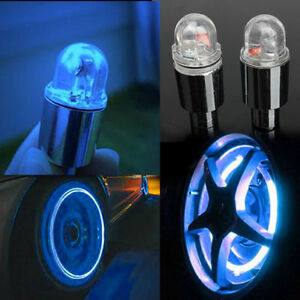2PCS Car Bike Motorcycle Tyre Wheel Neon LED Valve Cap Stem Lights Blue EF