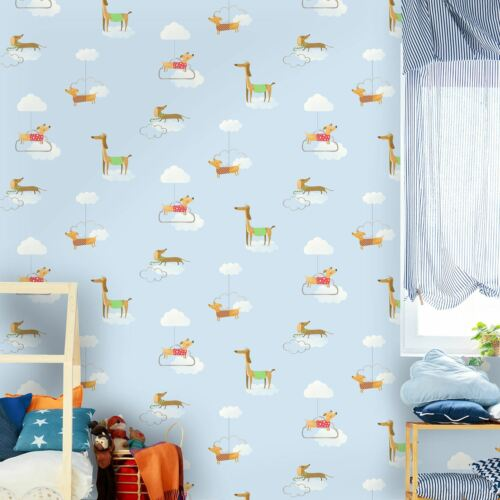 WALKIES SAUSAGE DOGS WALLPAPER BLUE HOLDEN DECOR 12550 NEW