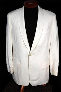 Audacieux Classique Vintage 594ms Crème Blanche Rayon Gabardine Smoking Taille 38r
