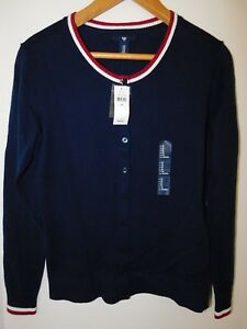 NWT-Gap-Women-039-s-Crew-Cardigan-Blue-Tipped-XS-S-Free-Shipping-MSRP-40-NEW