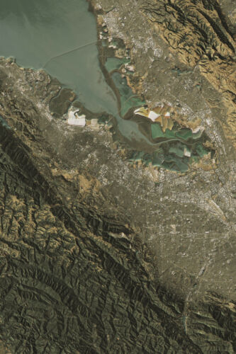 Silicon Valley Satellite View Topographic Map Landscape Photo Art Print Poster 1