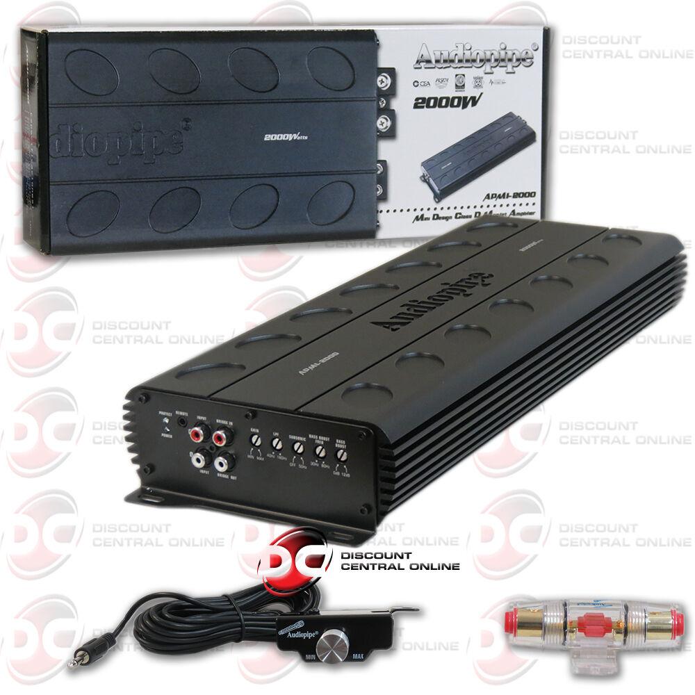 Audiopipe Apmi2000 2000 Watt Monoblock Class D Car Audio Amplifier Ampkit4 4 Gauge Contaq Wiring Kit Lanzar Installation Parts Stock Photo