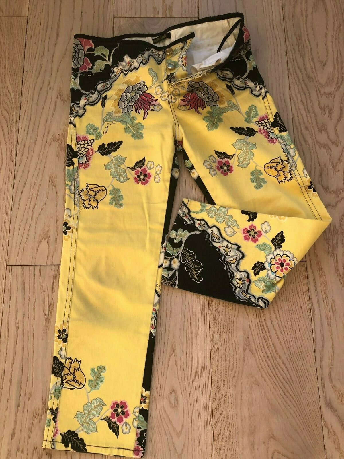 Roberto Cavalli woman multicolor mid-rise cropped jeans floral embelish XS