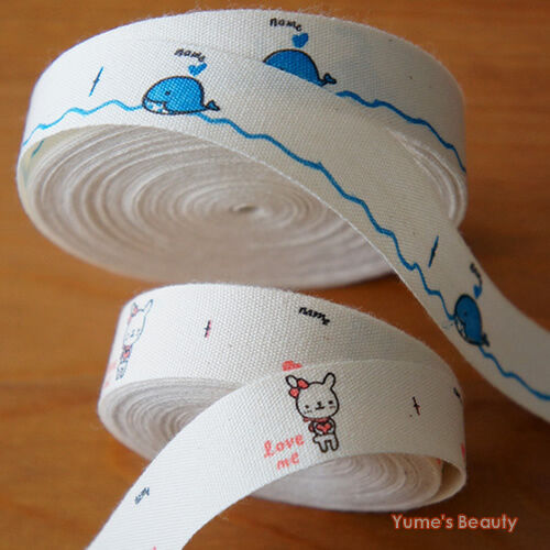 2 Yards: Cut & Sew Name Labels/ Bunny Pink & Whale Blue/ 15mm Craft DIY