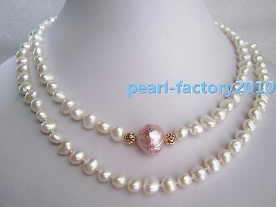 baroque  AAA 19'' 9-7MM NATURAL SOUTH SEA white  PEARL NECKLACE 14K
