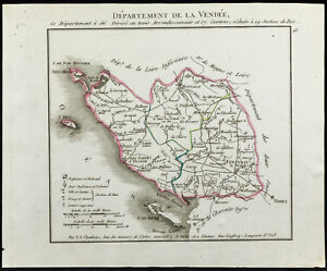 Map Of France Vendee.Details About 1802 Antique Map Department The Vendee Of Chanlaire France