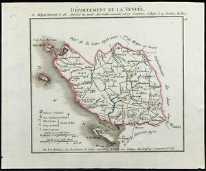 1802 - Carte ancienne département de la Vendée de Chanlaire. France | eBay