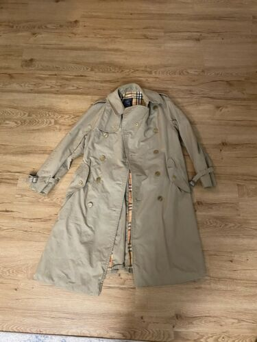 Vintage Burberry Trench Coat Xl Women Beige