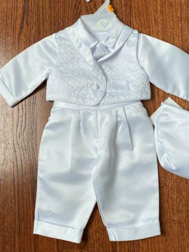 Baby Boy Christening Baptism white Outfit LONG PANTS size XS-S-M-L-XL //#15833
