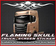 Flaming Skull Lorry Truck wind screen sticker Glass Cab Window HGV MAN DAF