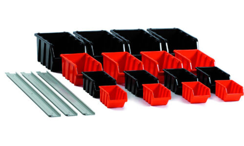 Sichtboxen-Set 19 tlg mit Wandhalter Sichtlagerboxen Wandregal Werkstatt Regal