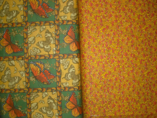 "2 YDS /""BUTTERFLIES IN MOTION/"" QUILT Fabric Panel//Blocks//Squares /& Coordinate GRN"