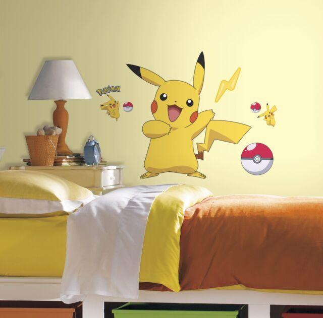 PIKACHU GiaNT WALL DECALS Pokemon Peekachu Mural Stickers Boys Yellow Room Decor