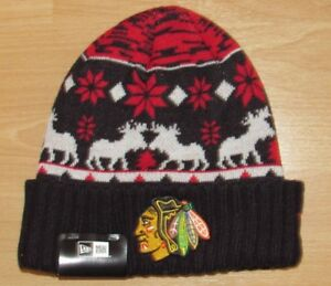 sports shoes 13ffa 113be Image is loading Chicago-Blackhawks-New-Era-Mooser-Cuffed-Winter-Knit-