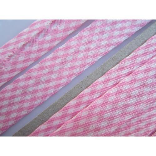 3 METER Schrägband pink weiß  Baumwolle 1.5cm   BA 20