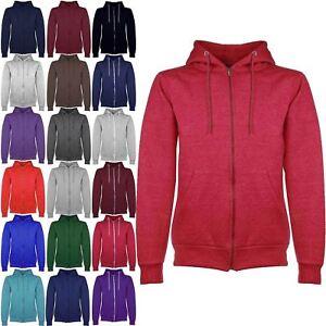 Herren Plain Hoodies Fleece Jacke Sweatshirt Zipper Zip Up