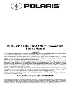 2015 2016 2017 polaris 600 800 axys snowmobile service manual on cd rh ebay com 2010 polaris rush 600 service manual polaris rush 800 service manual