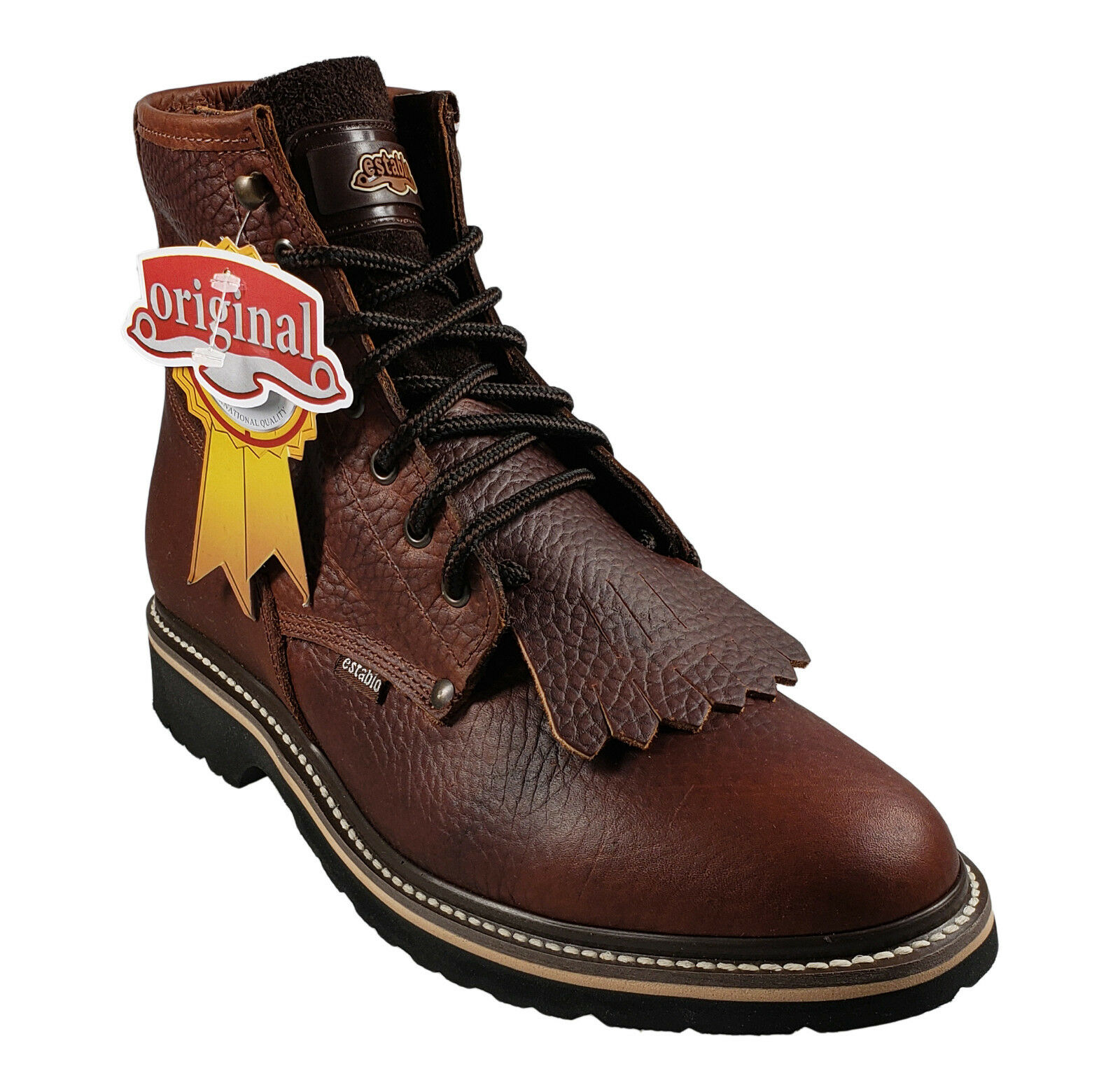 Men's Leather Work Boots Establo Style 587 Honey Bull Fight