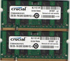 4GB 2x 2GB Kit HP Compaq 6735s 6820s 6830s 6910p 8510p 8510w 8710p 8710w Memory