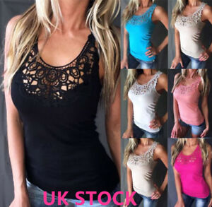 Womens-Sleeveless-Lace-Vest-T-Shirt-Ladies-Casual-Summer-Beach-Tank-Tops-Blouse
