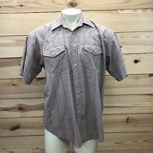 Falcon-Bay-Western-Shirt-Large-Tan-Blue-Red-Plaid-Short-Sleeve-Snap-Down-B83