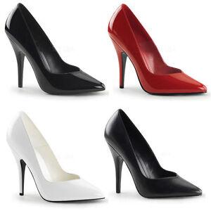Seduce-420V Pleaser Damen High Heels Pumps schwarz rot weiß Lack Lederlook 35-47