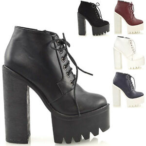 Ladies Chunky High Heel Cleated Sole Womens Platform Ankle Boots ...