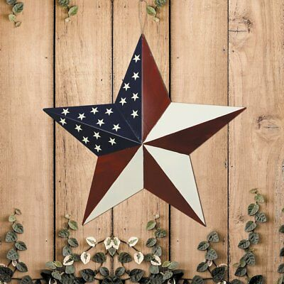 "16/"" July 4th Patriotic Wall Decor American Flag Barn Metal 3D Star Home Decor"