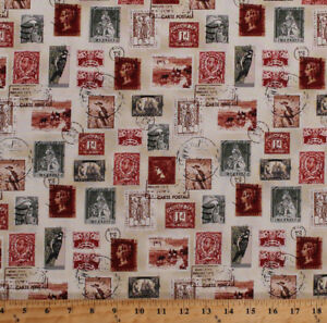 Image Is Loading Cotton Vintage Postage Stamps Birds Longfellow Fabric