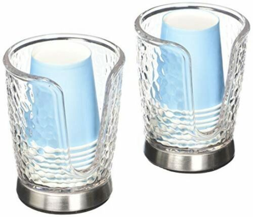 Disposable Small Paper Cup Holder Storage Organizer Bathroom Sink Set 2 New