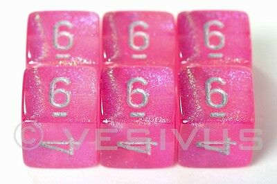 DICE Chessex Borealis PINK Six 6-Dice Sparkling PINK Glitter 6d6 27404 RPG D&D