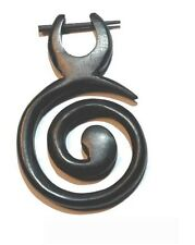 1 Stück Ohrring  Fake Expander Spirale Piercing Dehnungsspirale Bone Horn Holz