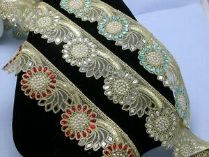 Mirrored-Beaded-Costume-Border-Trim-Embroidered-2-3-8-034-60mm-Per-mtr