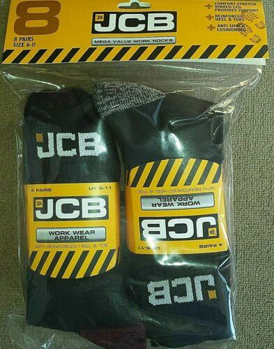 JCB  Official 8 Pairs Anti Shock Cushioned Work Socks UK6-11//EU39-46 MULTIBUY
