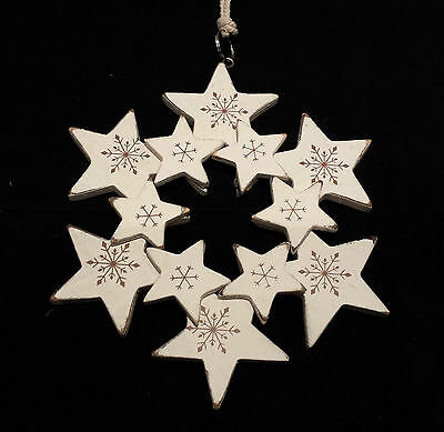 Vintage Chic Snowflake Hanging Christmas Decoration Heaven Sends Shabby White