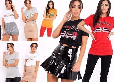 Womens Ladies Celeb Inspired Guilty Gold Foil Print Cap Sleeve Tees Cropped Top