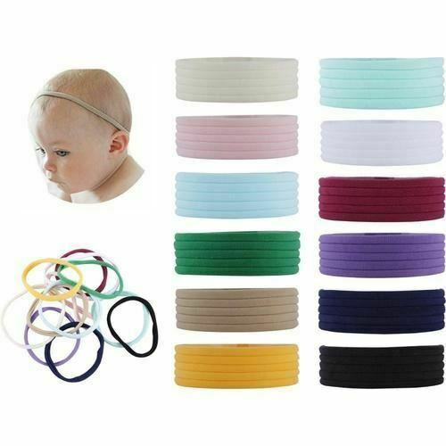 60 Pack Super Soft Stretchy Elastic Nylon Slim Headbands Bow Nude Hairband