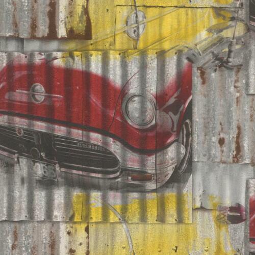 Rasch Vintage Street Art Cars Iron Sheet  Grey//Yellow Multi Wallpaper 212419