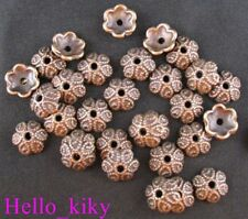 120Pcs  Antiqued Copper plt Crafted flower bead caps A191