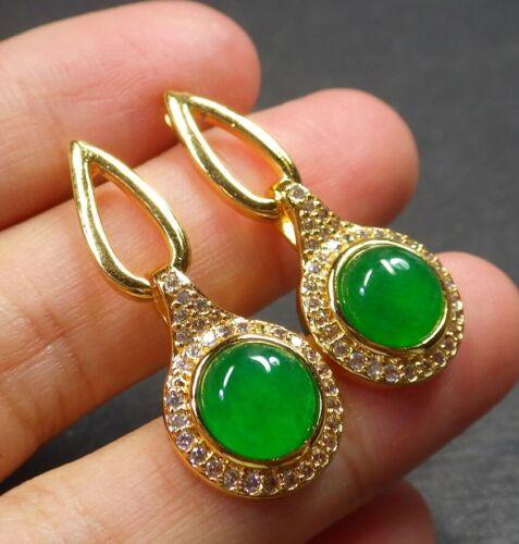 Gold Plate Green JADE Earring Earrings Circle Cabochon Diamond Imitation 322521