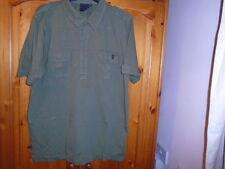 Mens khaki green short sleeve top with pockets, CRIMINAL, size XXL
