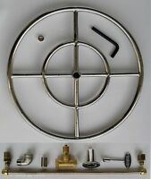 18 Ss Fire Pit Double Ring Burner Kit For Natural Gas Fire Glass Fire Shapes