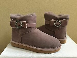 8cdde441c43 Details about UGG CLASSIC MINI KARLIE BROOCH STORMY GREY CRYSTALS BOOT US  11 / EU 42 / UK 9.5