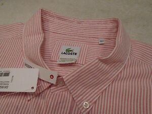 Lacoste-100-Cotton-Oxford-Chiffon-Rose-Rouge-a-Rayure-de-Sport-Chemise