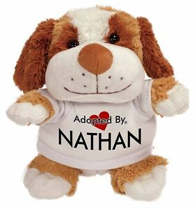 Adopté Par Nathan Peluche Chien Teddy Bear Wearing A Imprimé Nommé T-sh, Nathan-tb2-afficher Le Titre D'origine Effet éVident