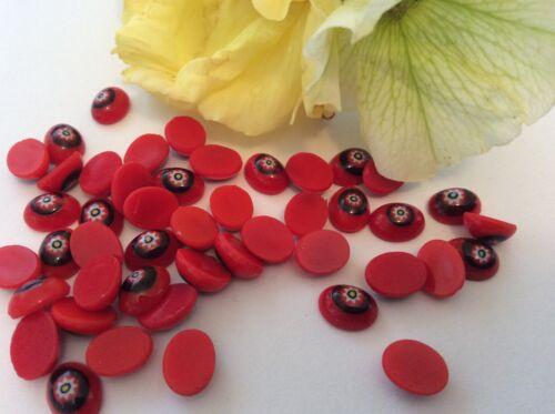 Vintage Flatback flor roja 8x6mm Oval Pack 10 Checo Artesanía Post Gratis