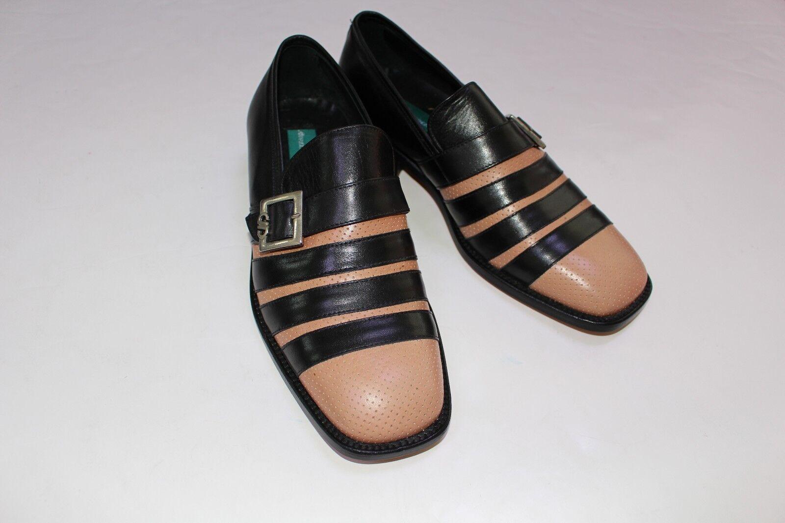 Aurelio Garcia Men's Black Tan Buckle Dress Leather Loafers Shoes NEW Size 13
